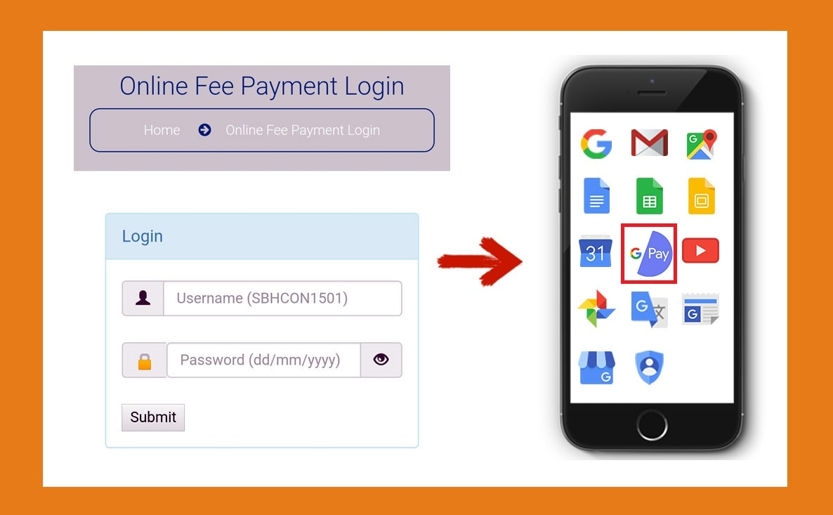 Fee Payment through UPI – Google Pay app